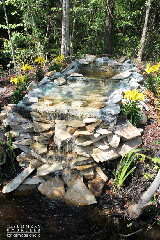 Remodelaholic build a waterfall on a budget for Garden pond moulds