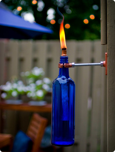 diy recycled wine bottle torch