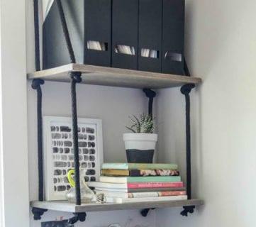 DIY Rope Hanging Shelves