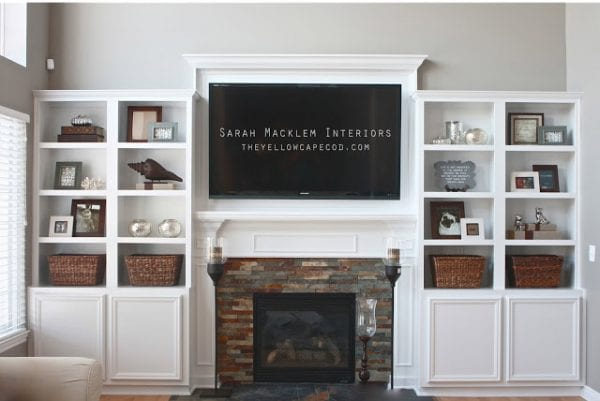 fireplace built-ins with television niche (The Yellow Cape Cod)