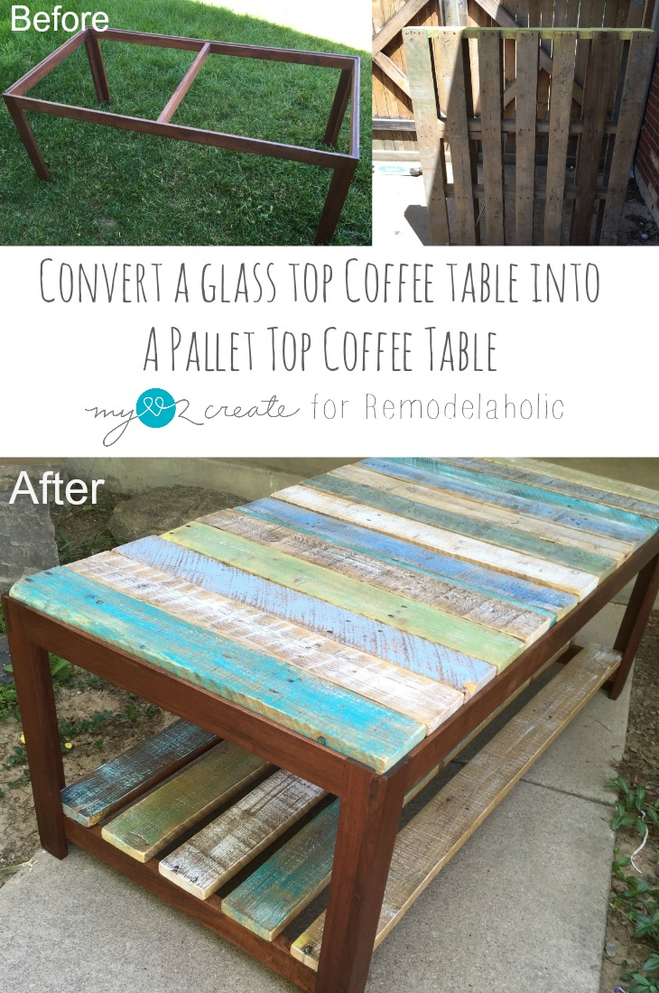 Wood Pallet Table Top Remodelaholic Update A Glass Top Coffee Table With A Pallet