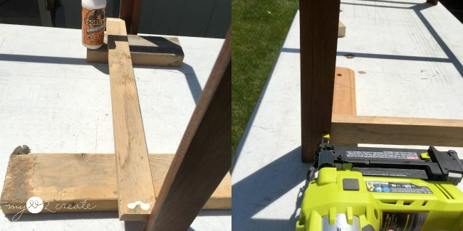 gluing and nailing on shelf support