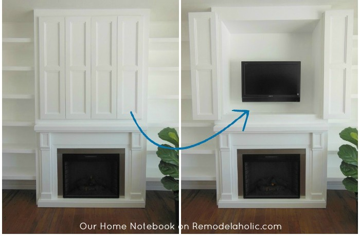 Remodelaholic 95 ways to hide or decorate around the tv electronics and cords for Hiding a tv in the living room