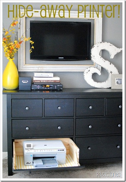 hide a printer in a dresser with a framed tv - could work with game systems or other electronics too (PBJ Stories)