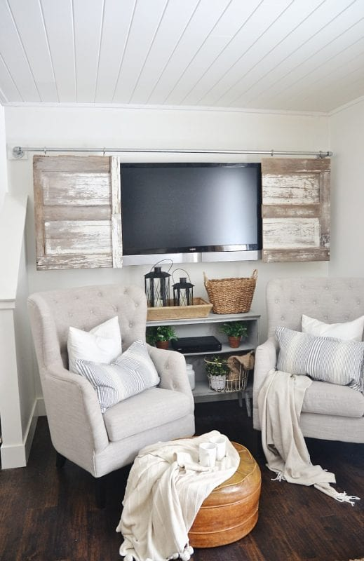 hide television behind sliding barn doors DIY (Liz Marie Blog)