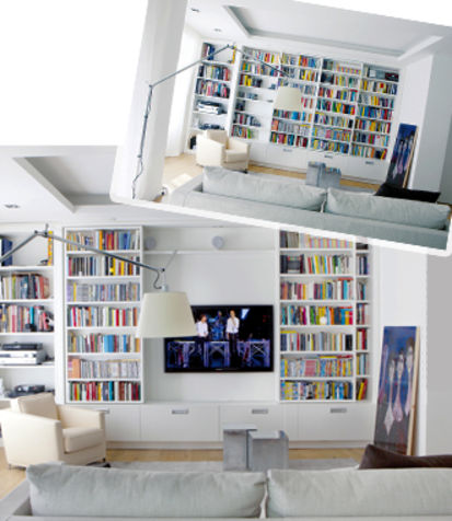 home library bookshelves hide the tv (via Donna Moderna)