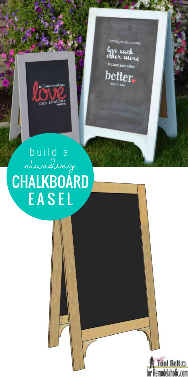 How To Build A Standing Chalkboard Easel Sign For Weddings And Parties, Remodelaholic