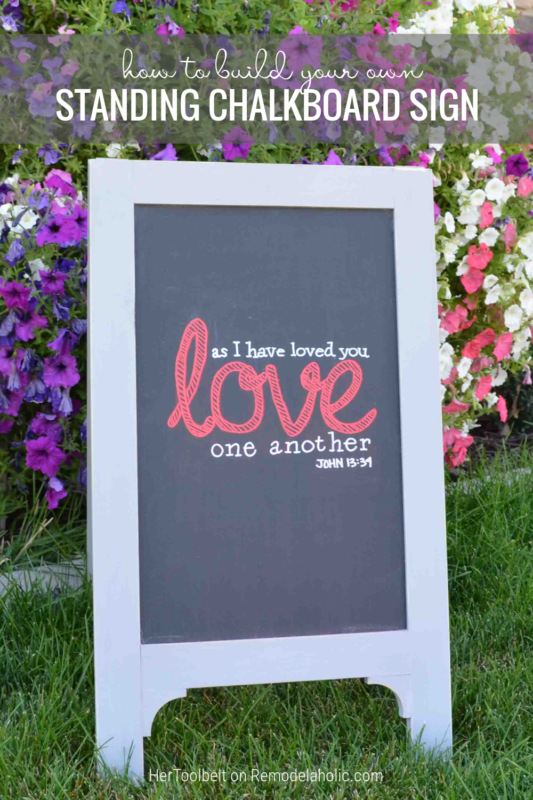 How To Build Your Own Standing Chalkboard Easel Sign, Remodelaholic