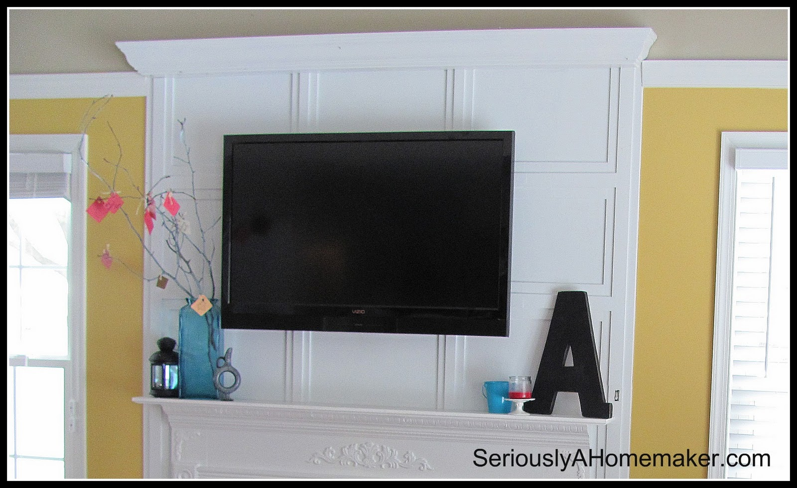 Remodelaholic 95 Ways To Hide Or Decorate Around The Tv Wiring Wall Plates How Cords In Trimwork Above Mantel Via Sawdust Girl