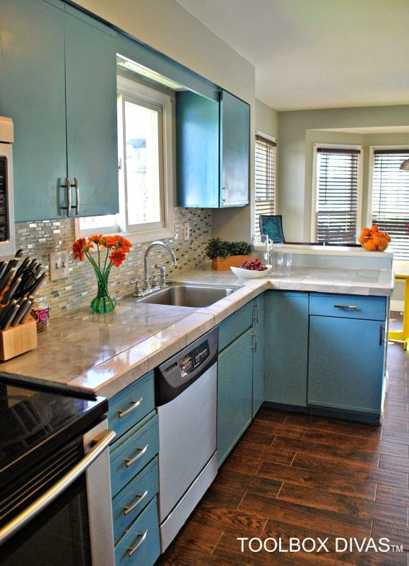 kitchen makeover with blue cabinets, Toolbox Divas