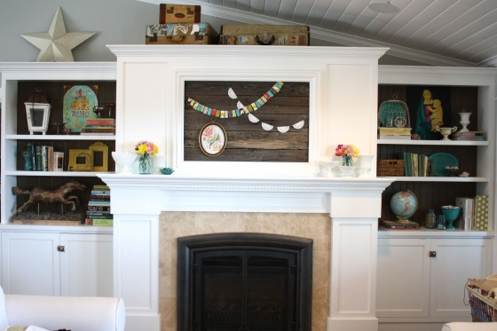 make a reclaimed wood cover for a framed tv (The Pleated Poppy)