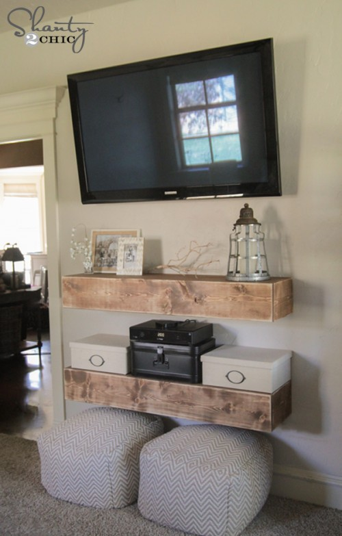 Living Room With Tv Mounted On Wall remodelaholic | 95 ways to hide or decorate around the tv