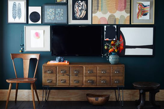 Remodelaholic Ways To Hide Or Decorate Around The TV - Black wall behind tv