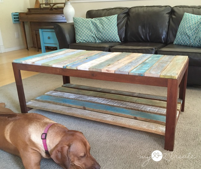 Painted Pallet Coffee Table remodelaholic | update a glass top coffee table with a pallet