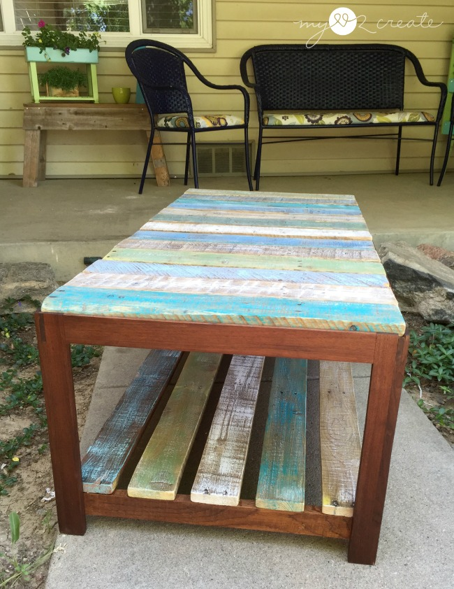 side shot of pallet coffee table