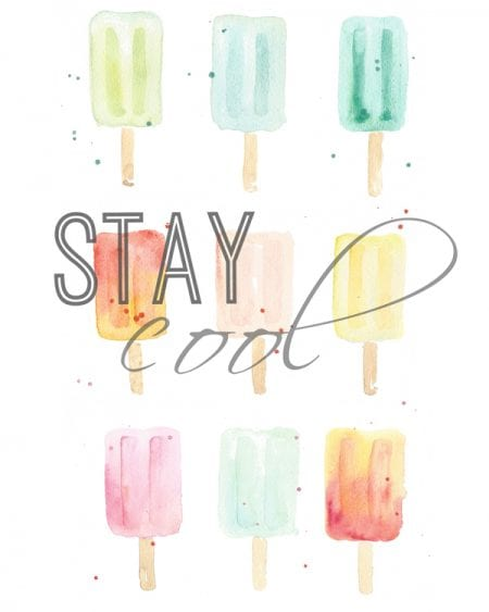 Stay Cool watercolor popsicle free printable -- cute for a summer gallery wall!