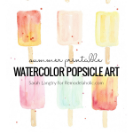 Summer Printable Watercolor Popsicle Art Set With Word Art Funny Sayings, Sarah Langtry For Remodelaholic