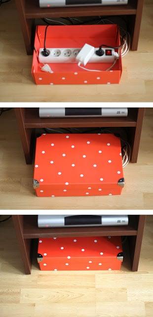 use a decorative box to hide cords (simplette)