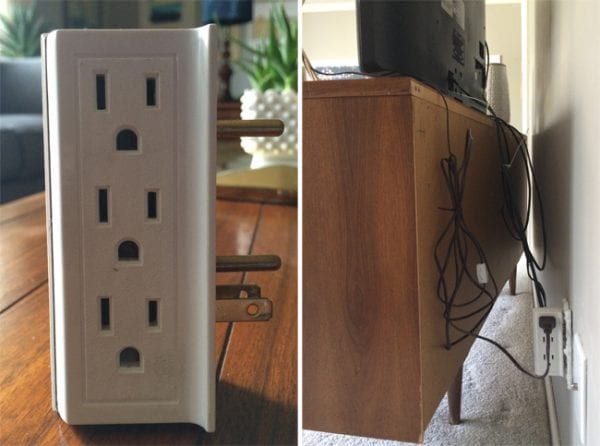 use a multiple prong outlet and zip ties to hide cords behind a TV console (Bigger Than The Three Of Us)