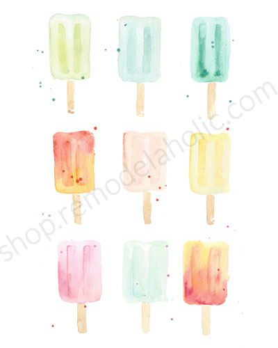 Watercolor Summer Printable Popsicle Wall Art Set, Instant Download Pdf, Sarah Langtry For Remodelaholic
