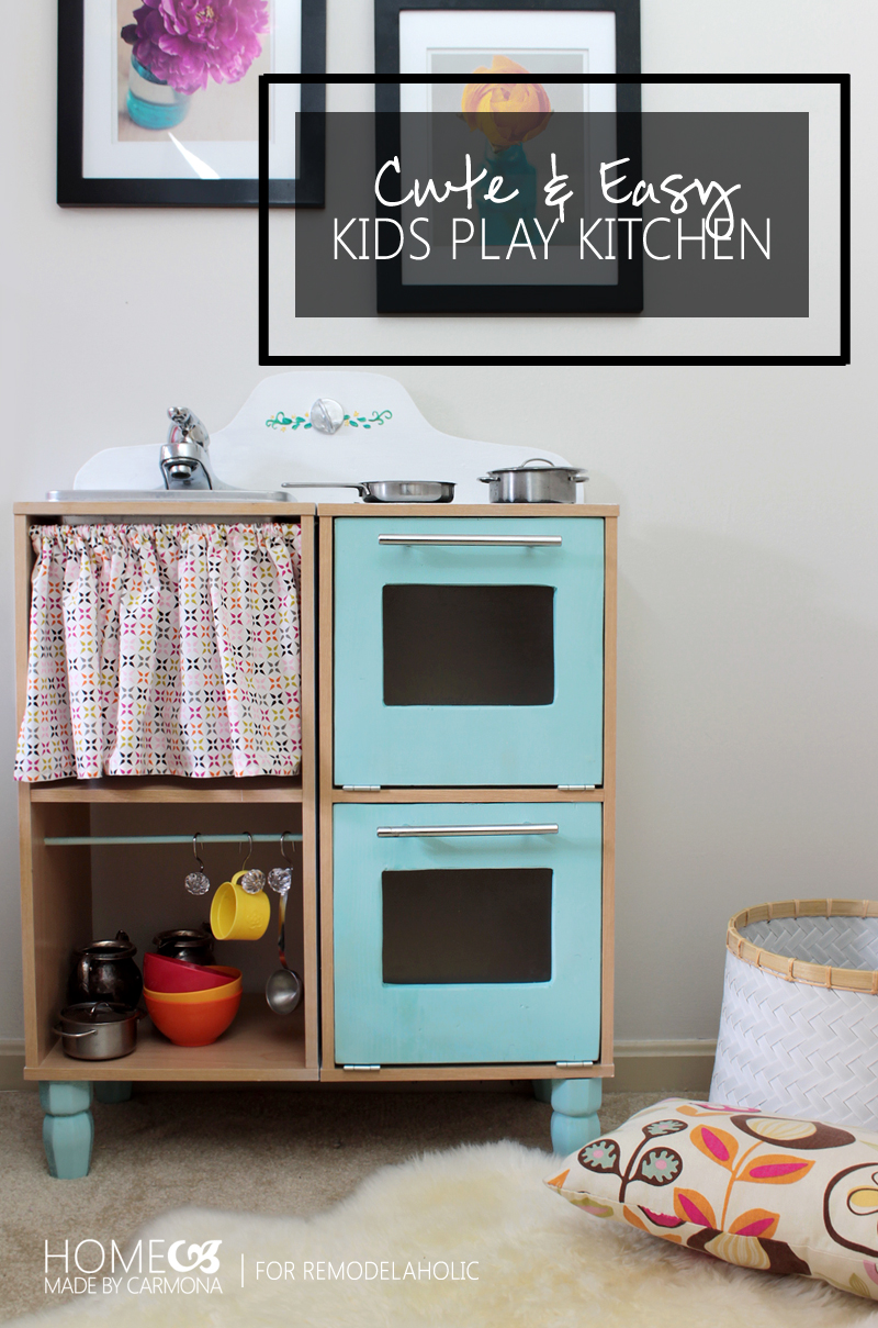 Remodelaholic cute easy kids play kitchen from a cube for Play kitchen designs