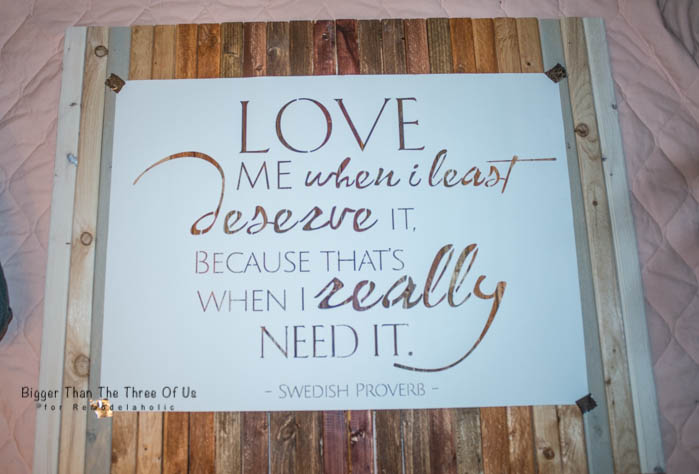 Cute DIY Ombre Stained Wood Art with Love Quote by Bigger Than The Three Of Us for