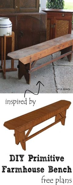 DIY Primitive Farmhouse bench plans