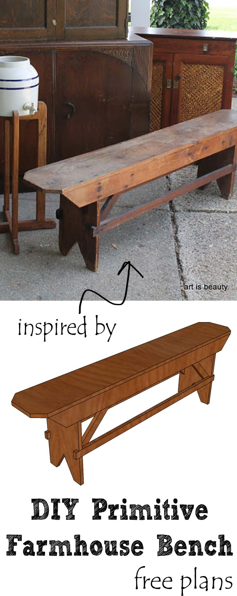 Farmhouse bench woodworking plans woodshop plans - Build A Beautiful Diy Primitive Farmhouse Bench For Your Farmhouse Table Or Extra Seating Free For More Build Plans