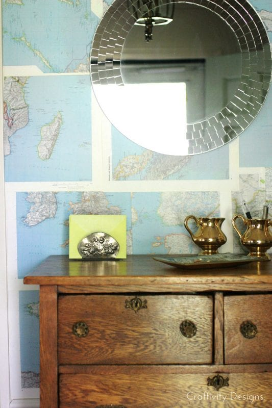 DIY Renter Friendly Map Wall Treatment by Craftivity Designs for Remodelaholic