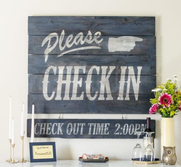 DIY Vintage Hotel Style Sign for Guest Room by A Prudent Life for Remodelaholic