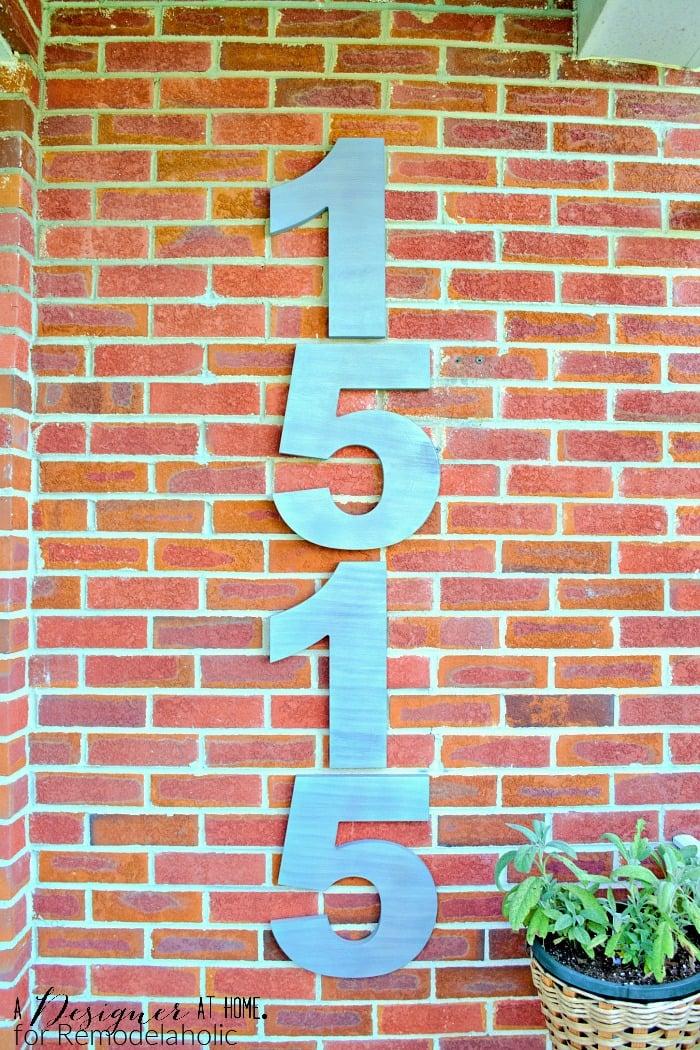 Remodelaholic Faux Brushed Nickel Modern House Numbers