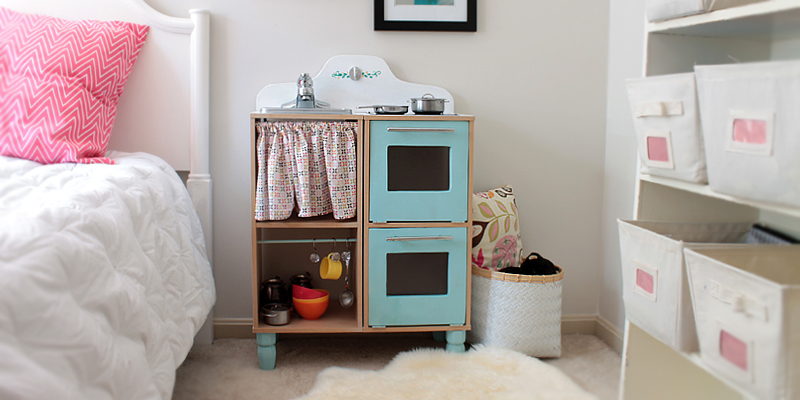 Cute & Easy Kids Play Kitchen from a Cube Shelf
