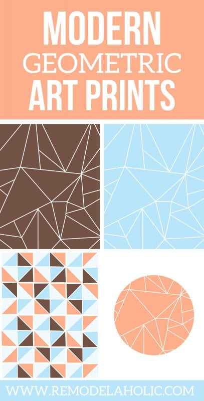 Add some color and modern style to your walls with this set of free geometric art prints. Just print, frame, and hang!