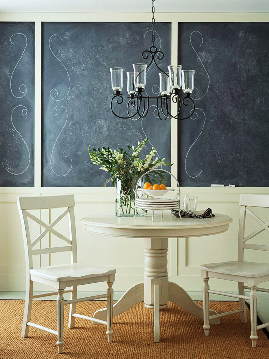 black chalkboard walls in dining area (BHG)