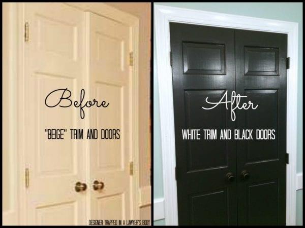 black painted doors, Valspar Kettle Black (Designer Trapped)