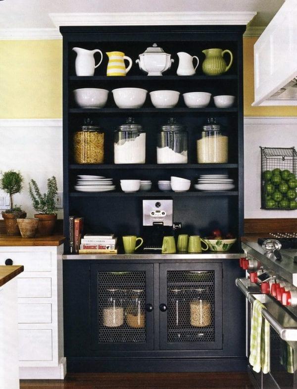 black painted kitchen hutch (Susan Serra, kitchendesigner)