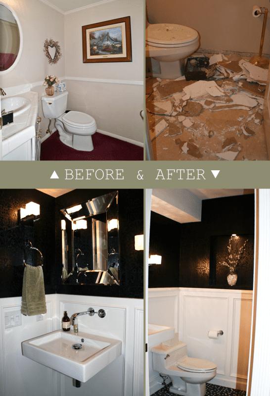 black painted powder room