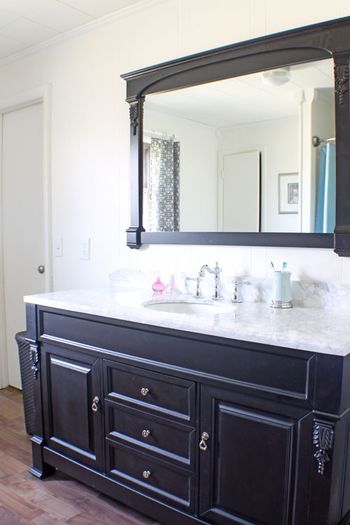 black vanity and mirror frame (The Shabby Creek Cottage)