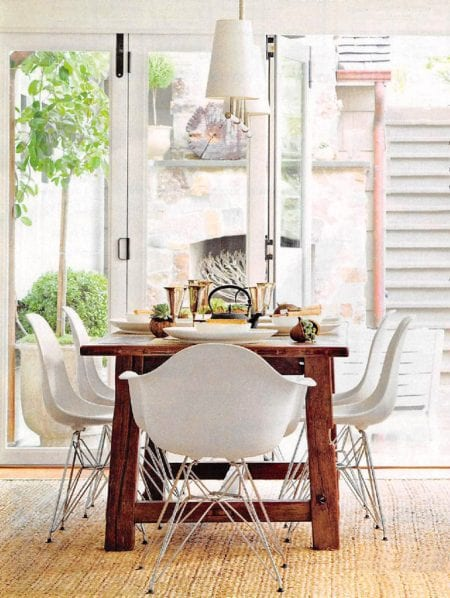 Farmhouse Dining Table Inspiration: Build a farmhouse table like this for $100! Beginner woodworking plan (image source: Better Homes and Gardens photos: Edmund Barr)
