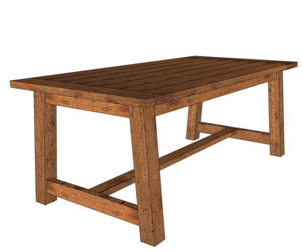 Build a DIY Farmhouse Dining Table with Trestle Base and Stretcher