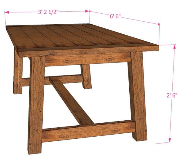 Easy beginner DIY farmhouse table woodworking plans