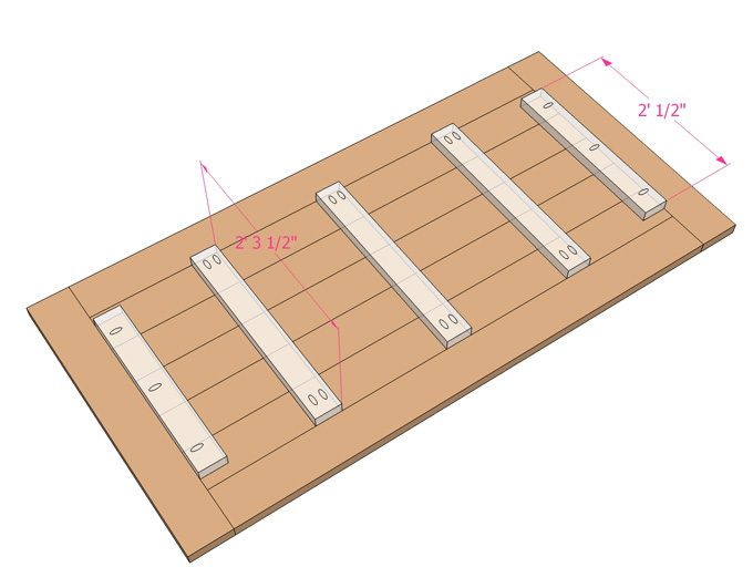 Build The Tabletop With 2×4 Braces Screwed From The Underside, And 1 1/2u2033  Pocket Holes And 2 1/2u2033 Pocket Hole Screws To Attach The Outer 4 Pieces  (colored ...