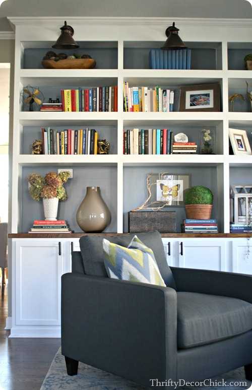 built-in shelving with painted gray interior (Thrifty Decor Chick)