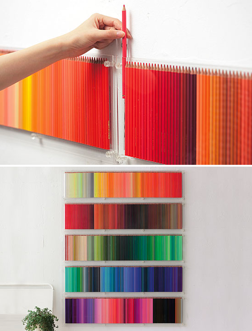 colored pencils wall display