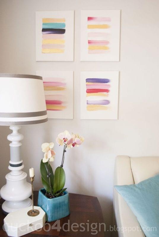 Easy Art Ideas for Kids Room Decor: colorful gold brushstroke art (cuckoo4design)