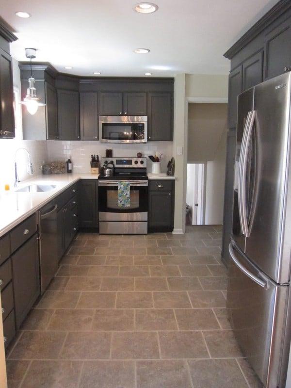 dark charcoal gray kitchen cabinets DIY