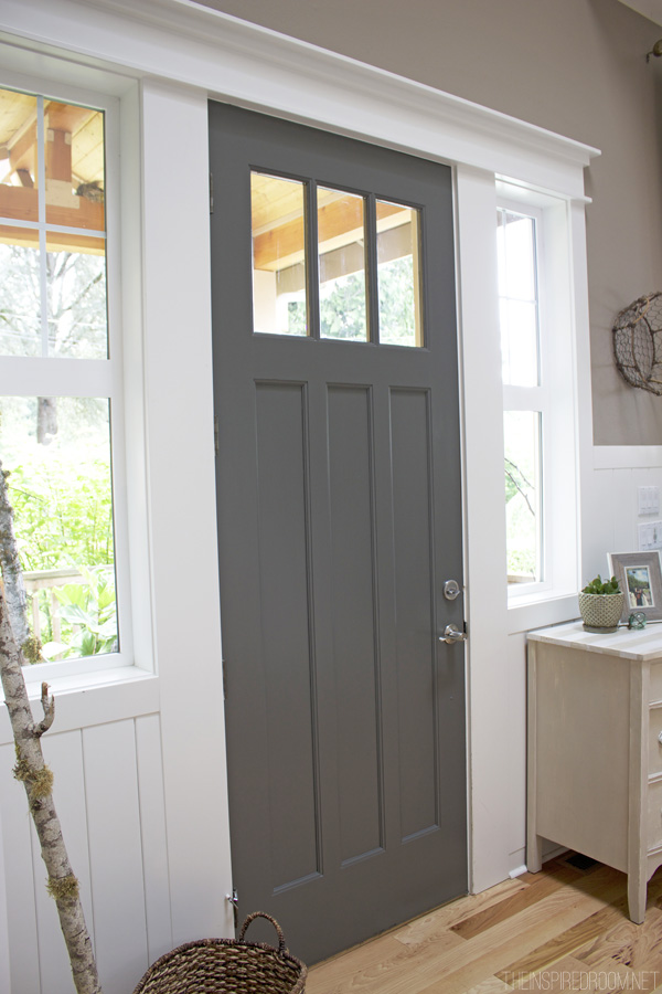 Delightful ... Dark Gray Painted Front Door, BM Kendall Charcoal (The Inspired Room)