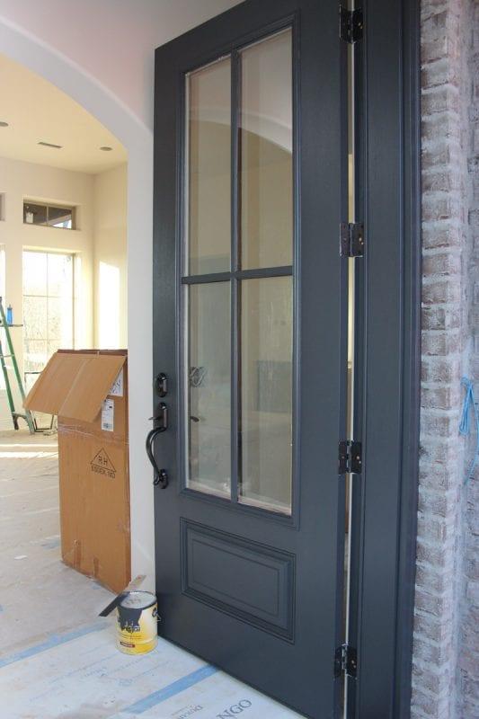 dark painted front door, BM Wrought Iron (Timeless Paper)