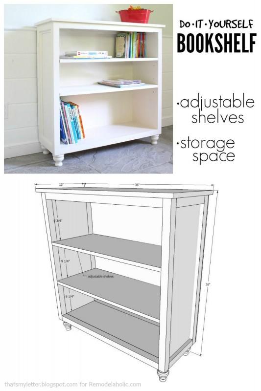 Diy Bookshelf Woodworking With Adjustable Shelves