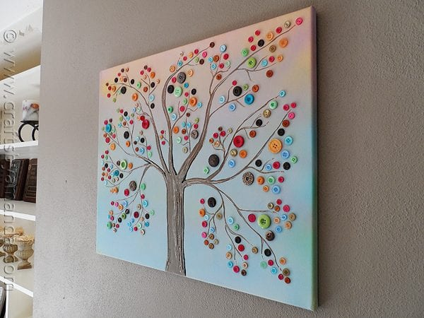 Easy Art Ideas for Kids Room Decor: diy button tree wall art (Crafts By Amanda)
